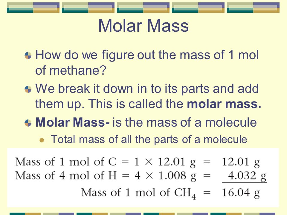 Molar Mass How do we figure out the mass of 1 mol of methane