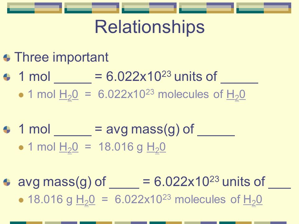 Relationships Three important 1 mol _____ = 6.022x1023 units of _____
