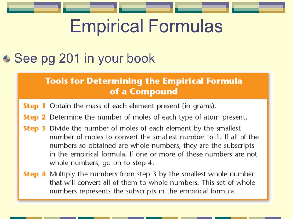 Empirical Formulas See pg 201 in your book