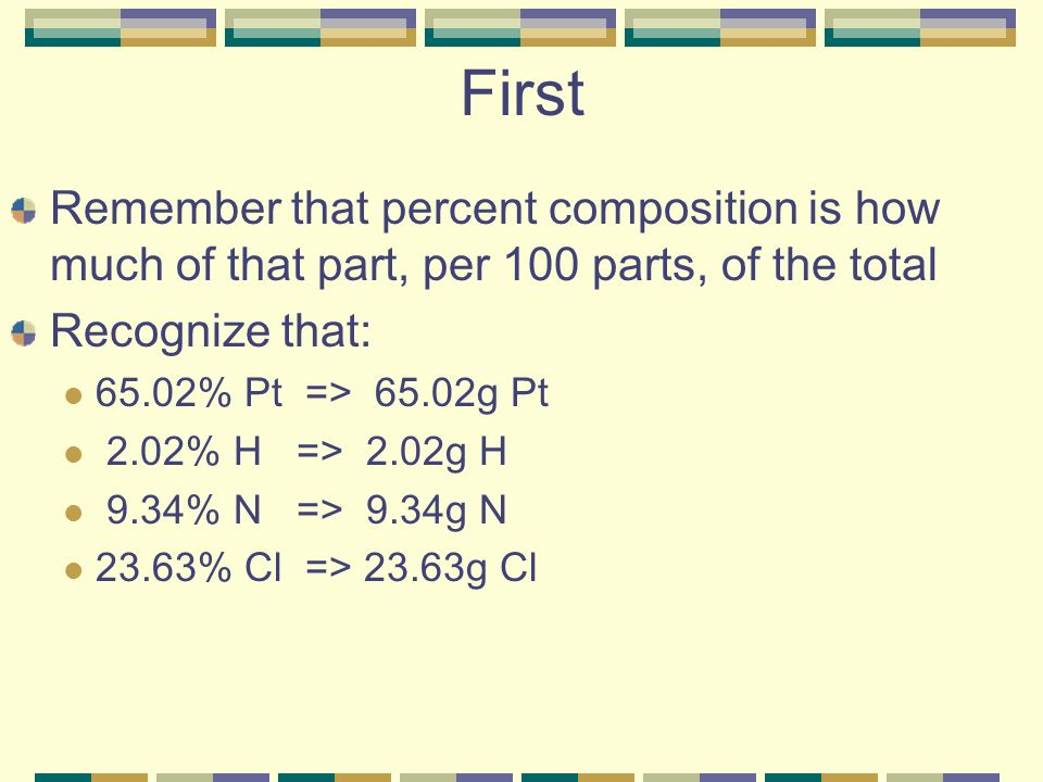 First Remember that percent composition is how much of that part, per 100 parts, of the total. Recognize that: