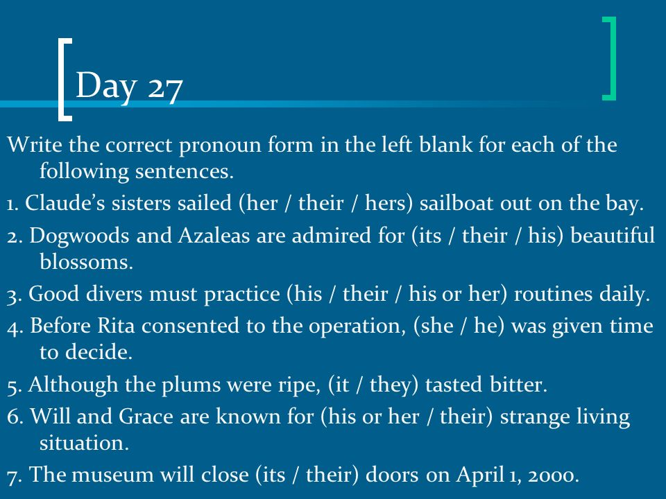 Day 27 Write the correct pronoun form in the left blank for each of the following sentences.