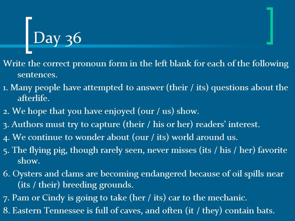 Day 36 Write the correct pronoun form in the left blank for each of the following sentences.