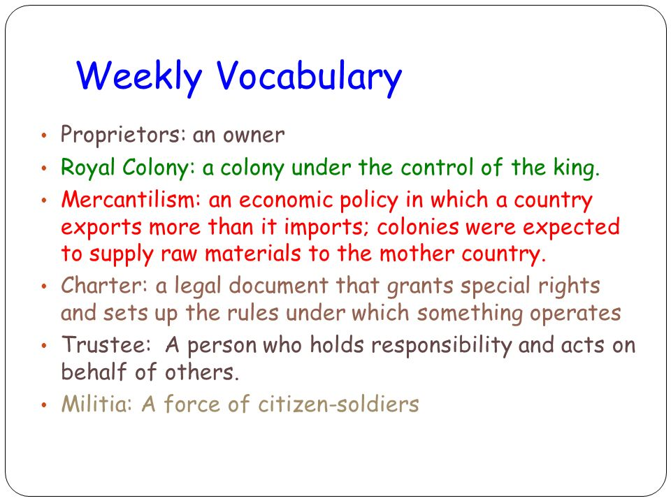 Weekly Vocabulary Proprietors: an owner