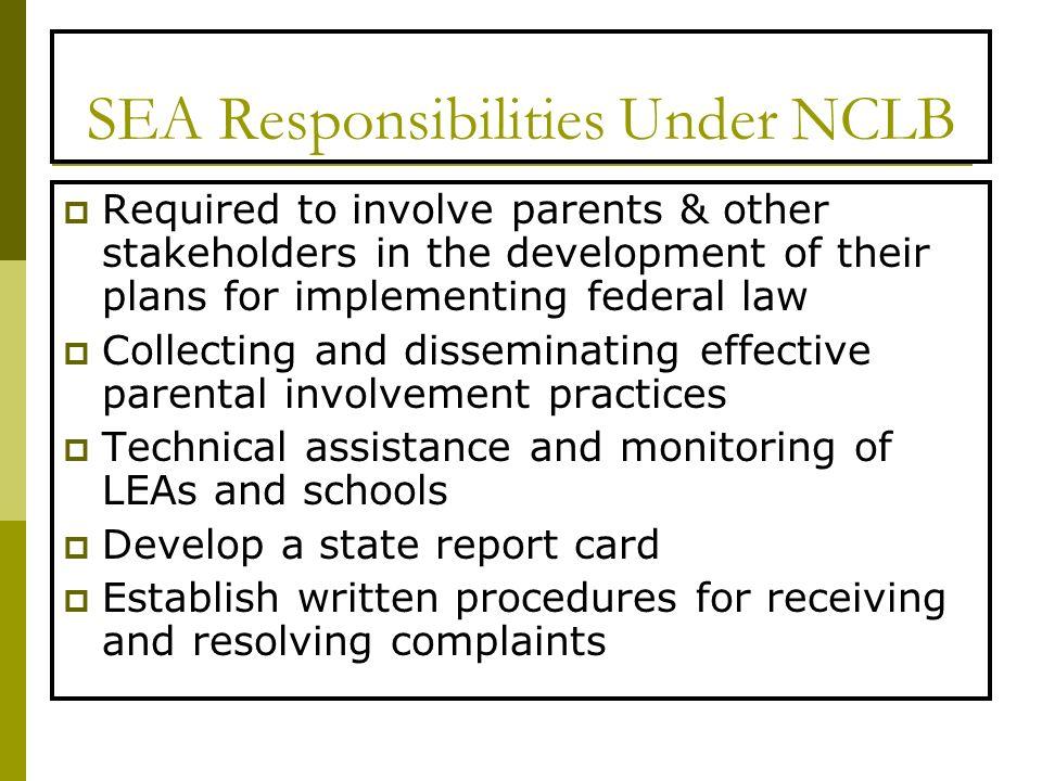 SEA Responsibilities Under NCLB