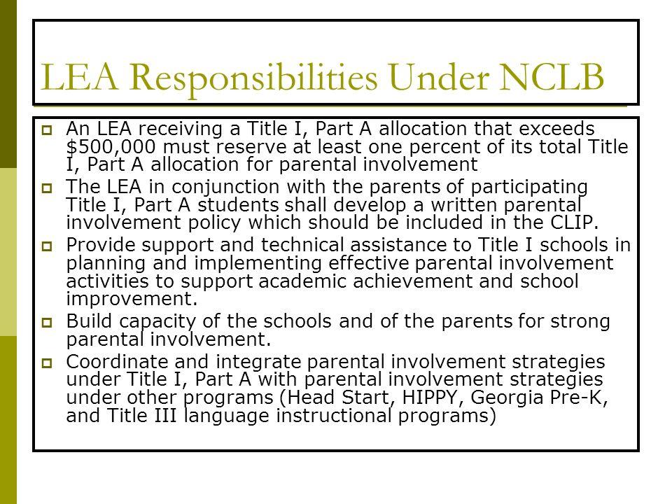 LEA Responsibilities Under NCLB