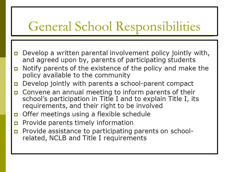 General School Responsibilities