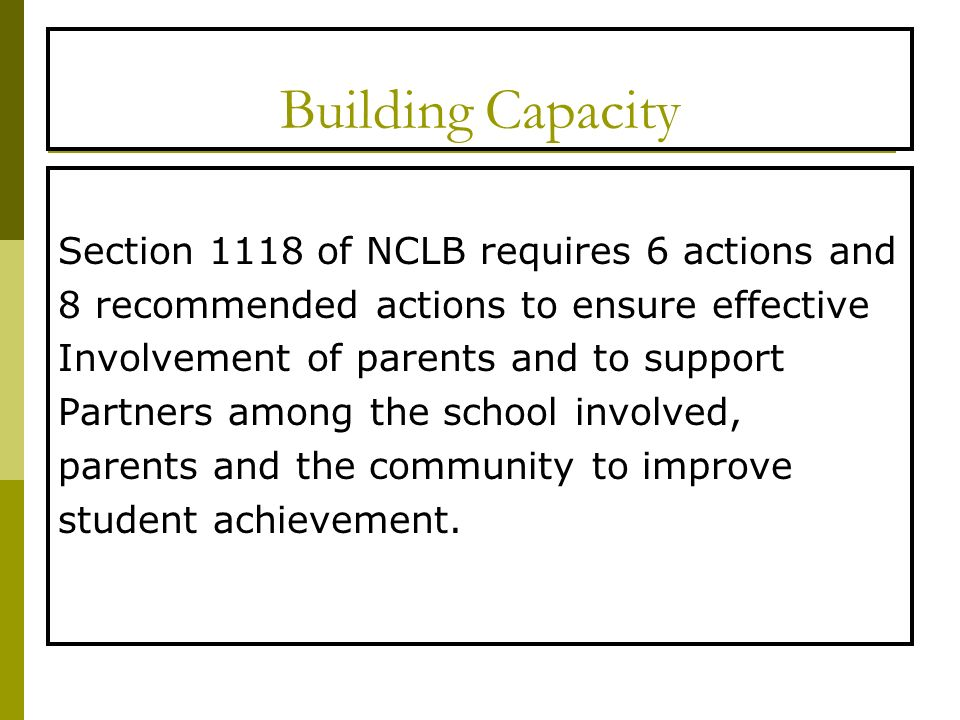 Building Capacity Section 1118 of NCLB requires 6 actions and