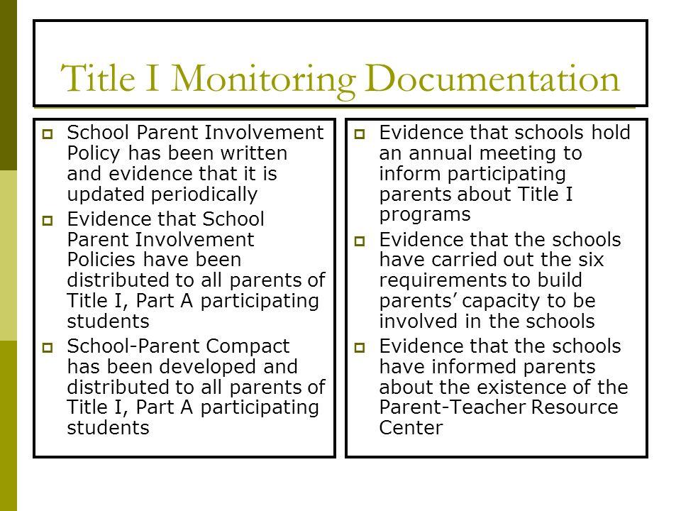 Title I Monitoring Documentation