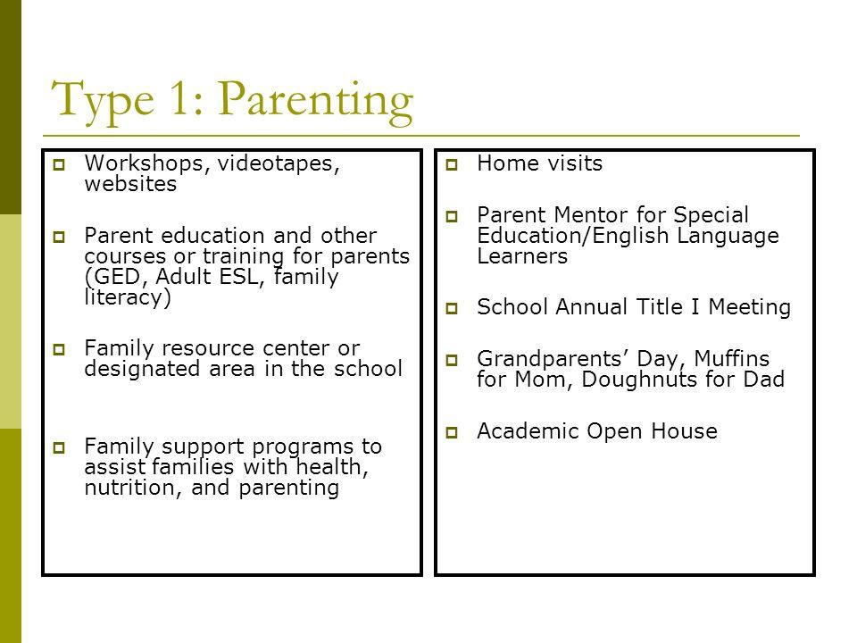 Type 1: Parenting Workshops, videotapes, websites
