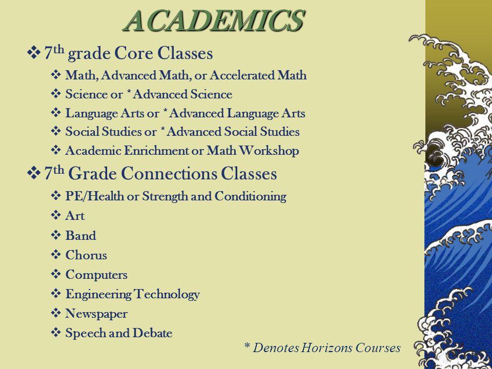 ACADEMICS 7th grade Core Classes 7th Grade Connections Classes