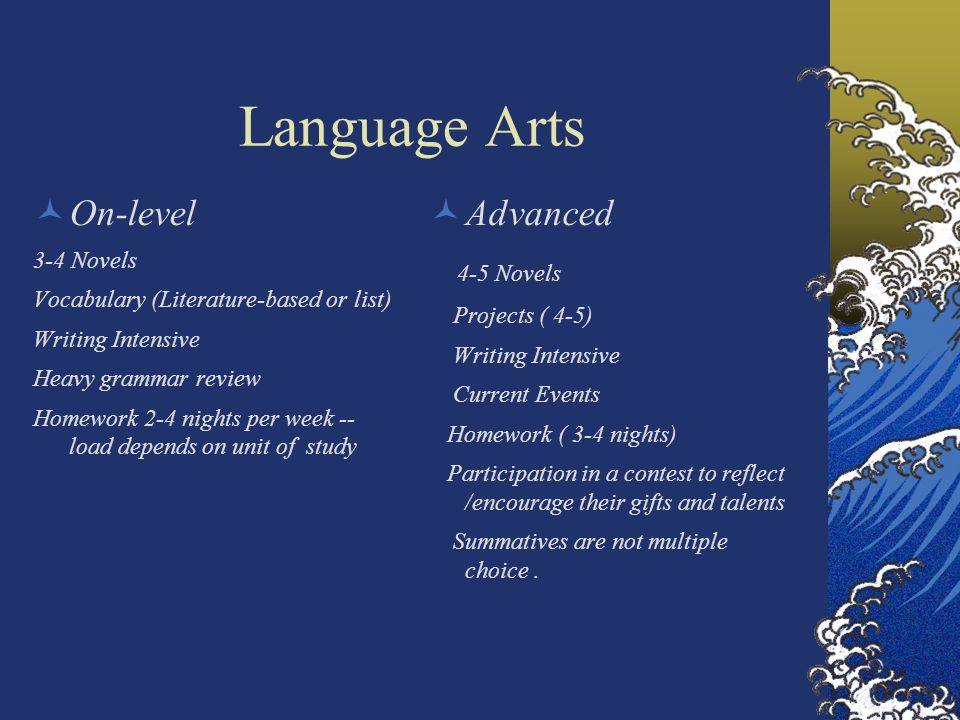 Language Arts On-level Advanced 4-5 Novels 3-4 Novels