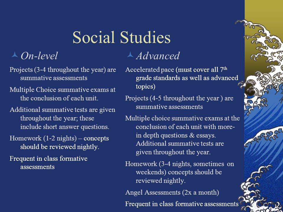 Social Studies On-level Advanced