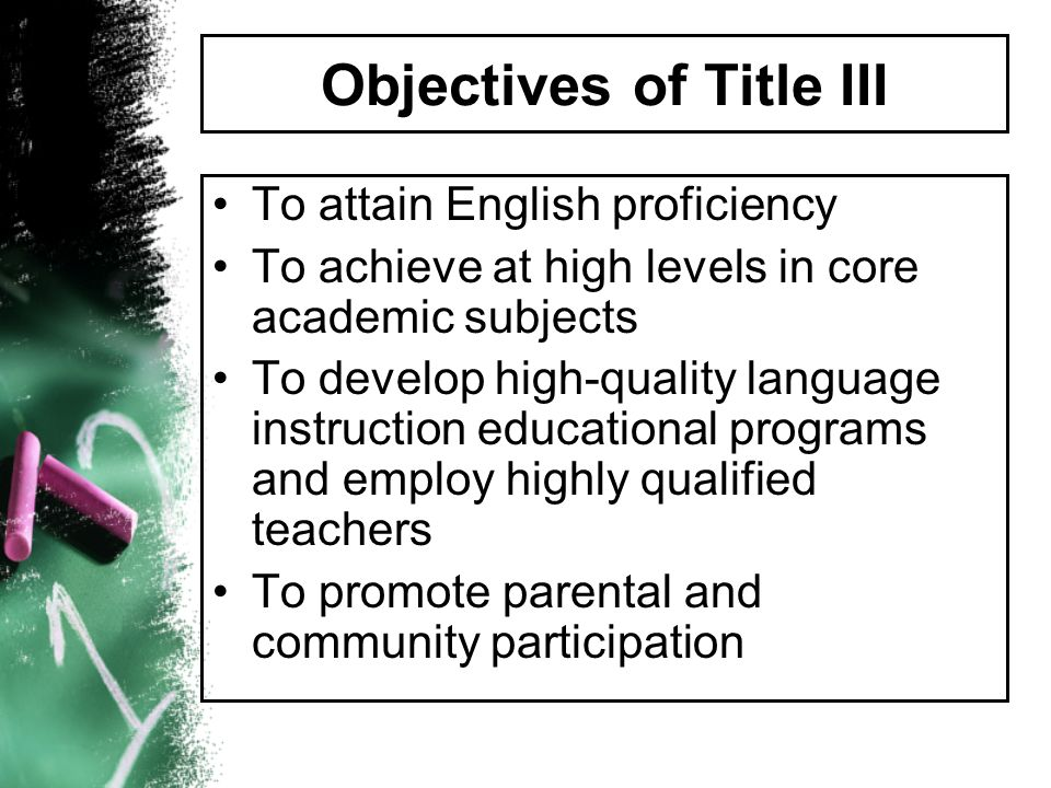 Objectives of Title III