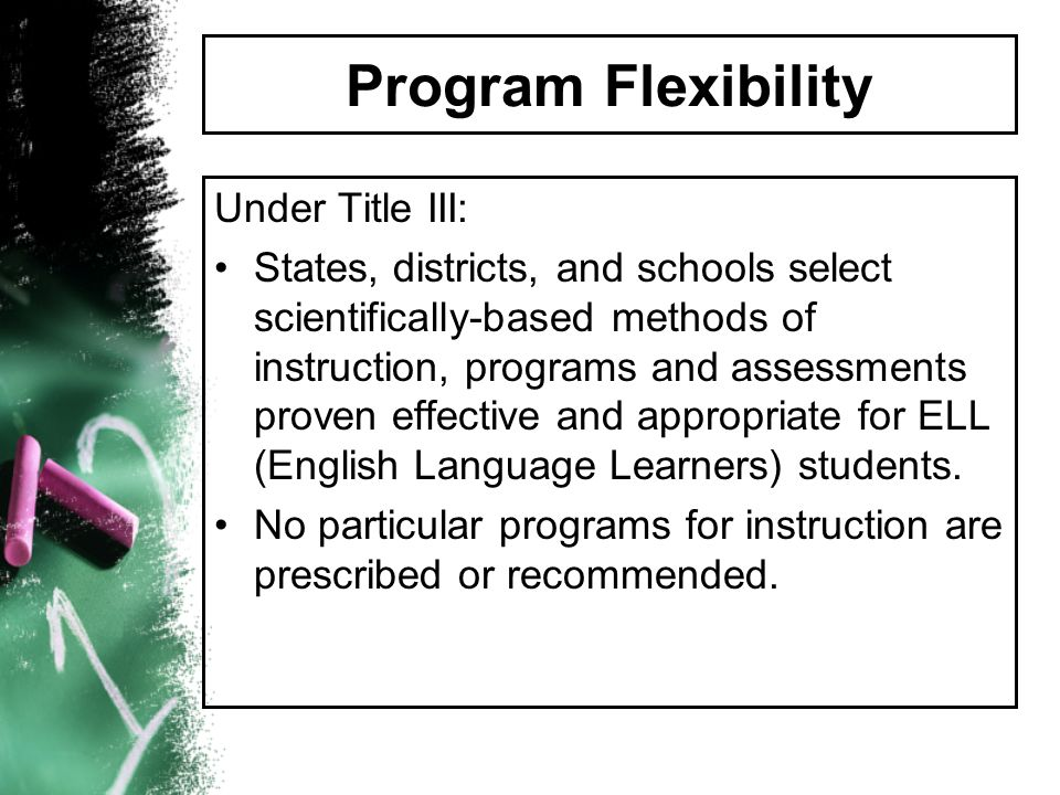 Program Flexibility Under Title III: