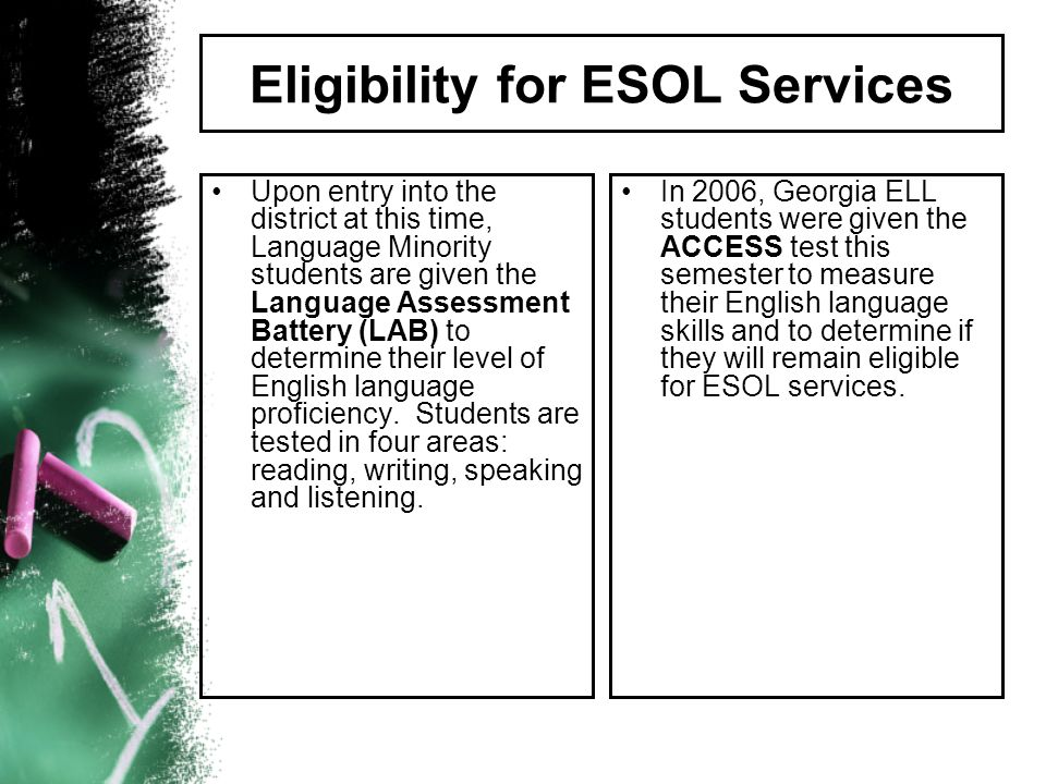 Eligibility for ESOL Services