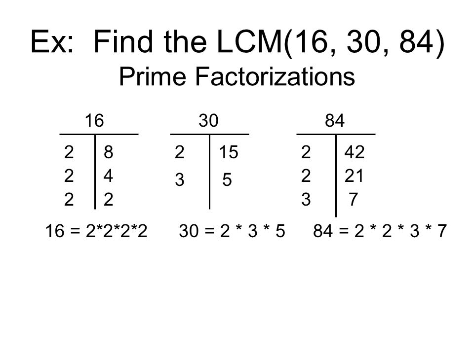 Ex: Find the LCM(16, 30, 84) Prime Factorizations