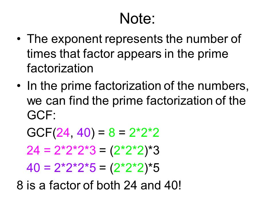 Note: The exponent represents the number of times that factor appears in the prime factorization.