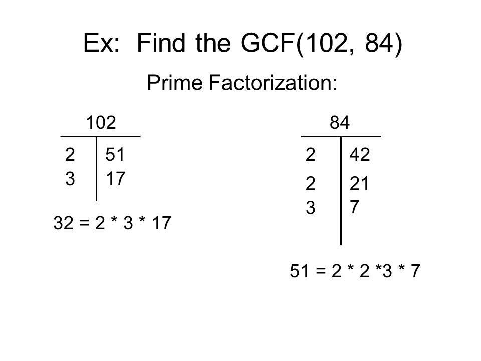 Ex: Find the GCF(102, 84) Prime Factorization: