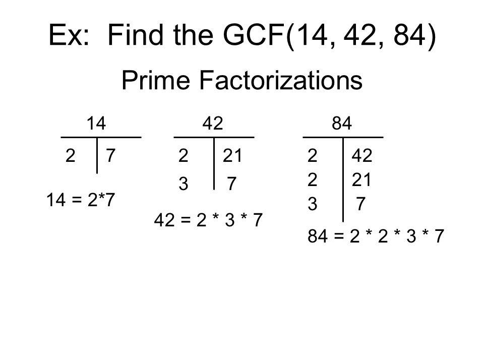 Ex: Find the GCF(14, 42, 84) Prime Factorizations