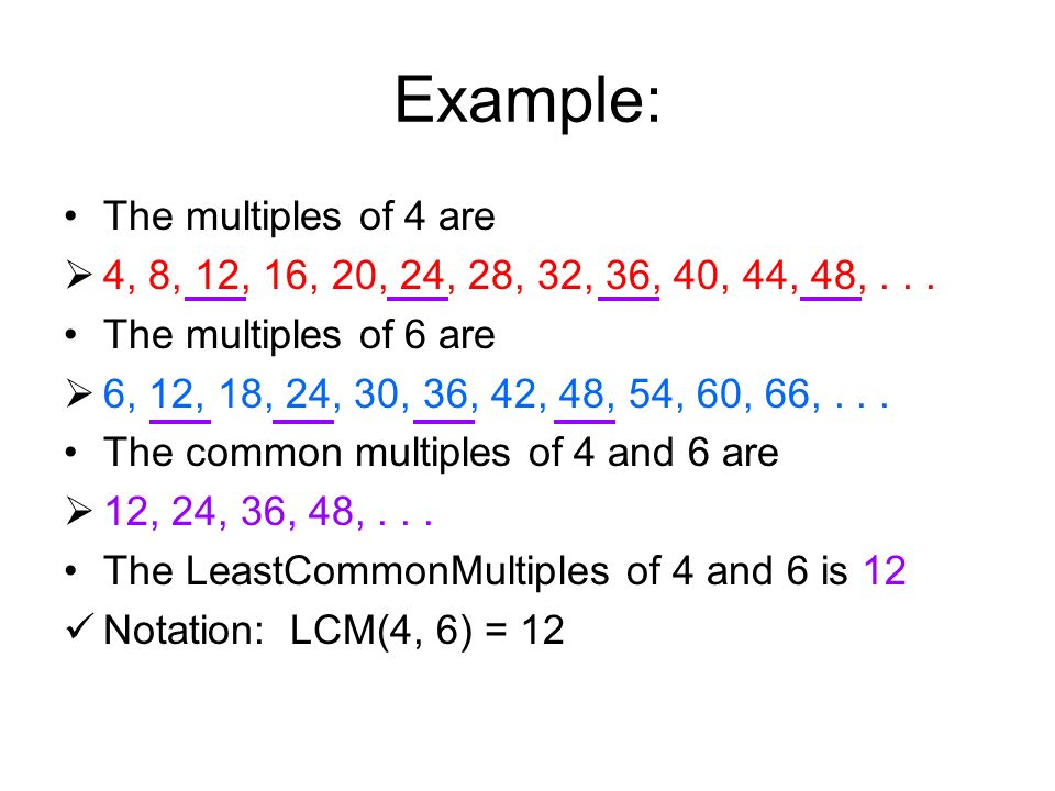 Example: The multiples of 4 are