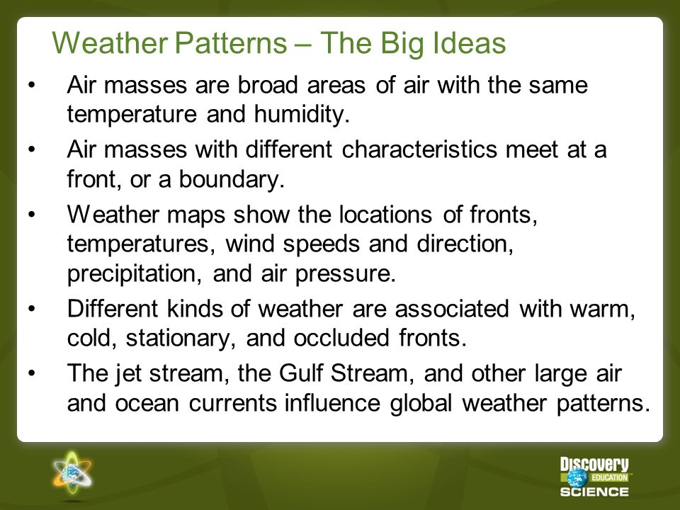 Weather Patterns – The Big Ideas