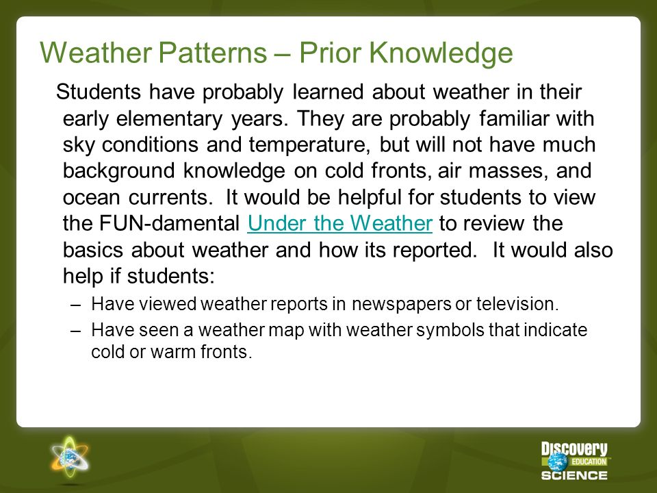 Weather Patterns – Prior Knowledge