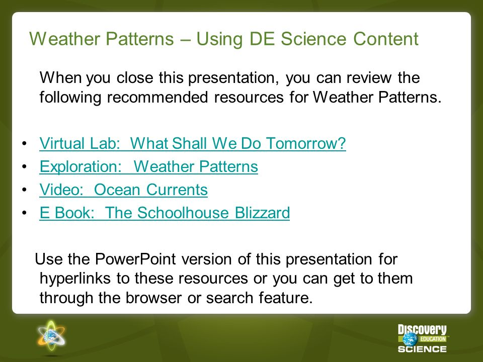 Weather Patterns – Using DE Science Content