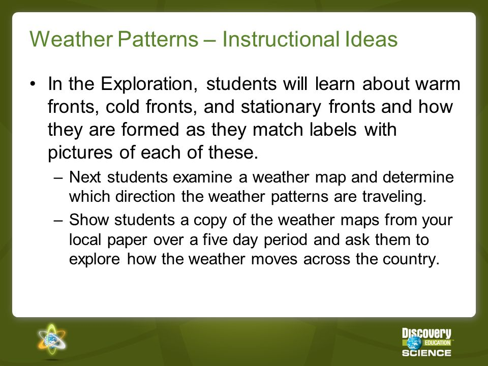 Weather Patterns – Instructional Ideas