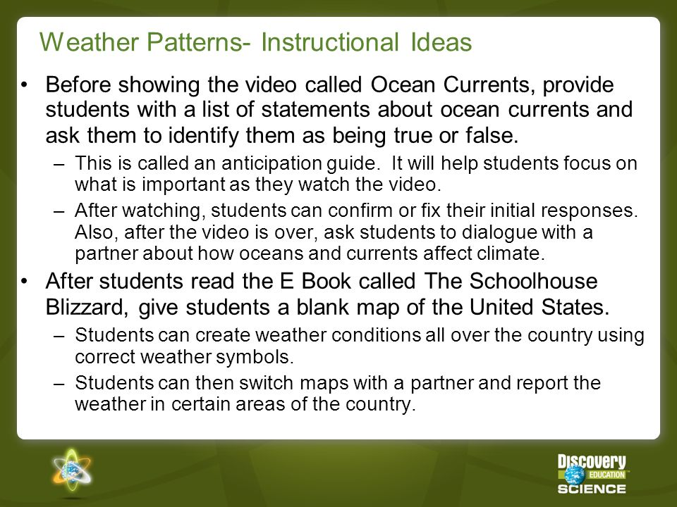 Weather Patterns- Instructional Ideas