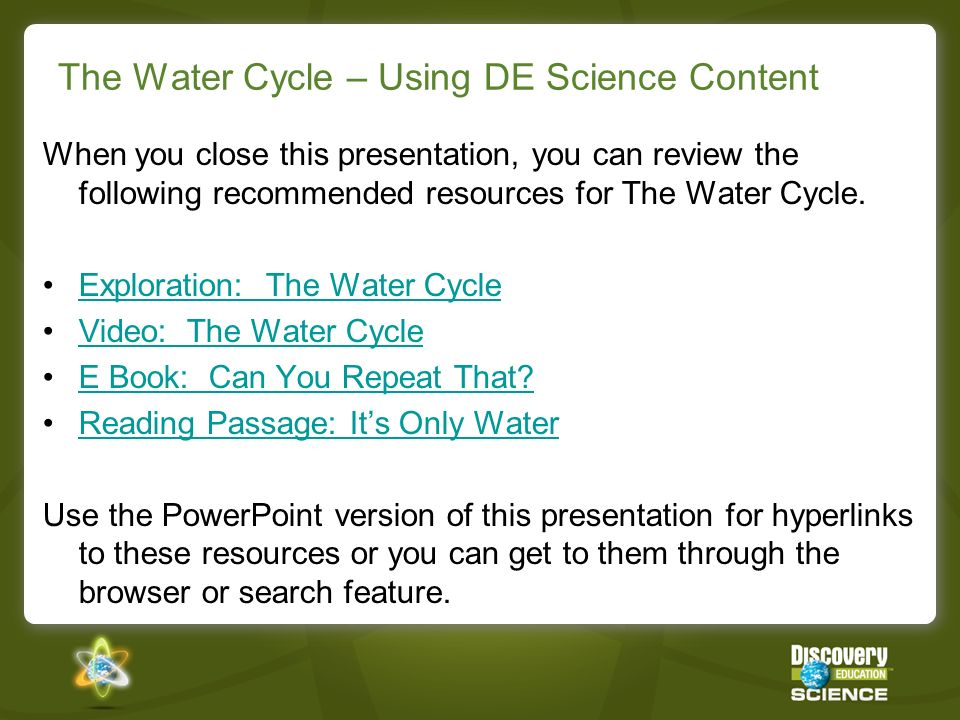 The Water Cycle – Using DE Science Content