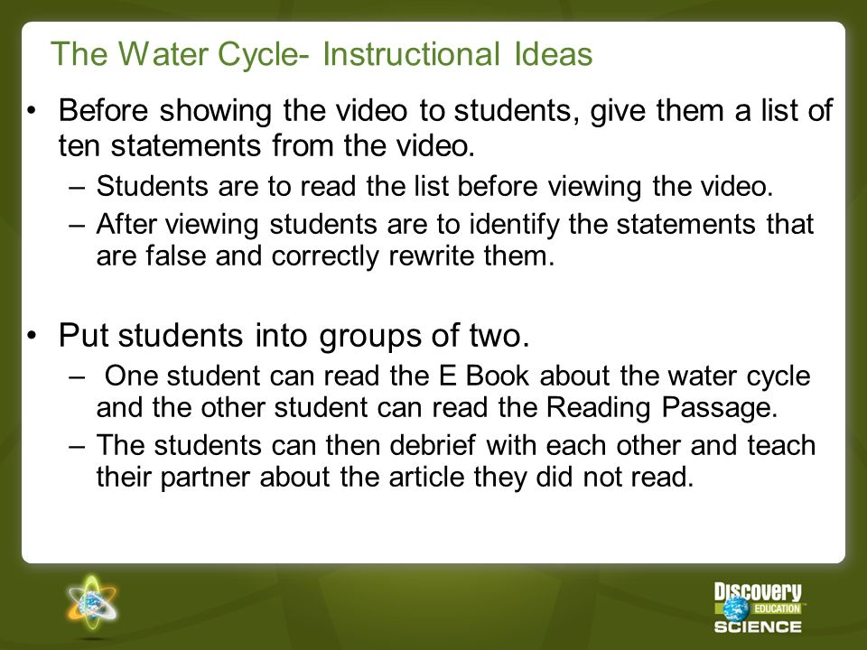 The Water Cycle- Instructional Ideas