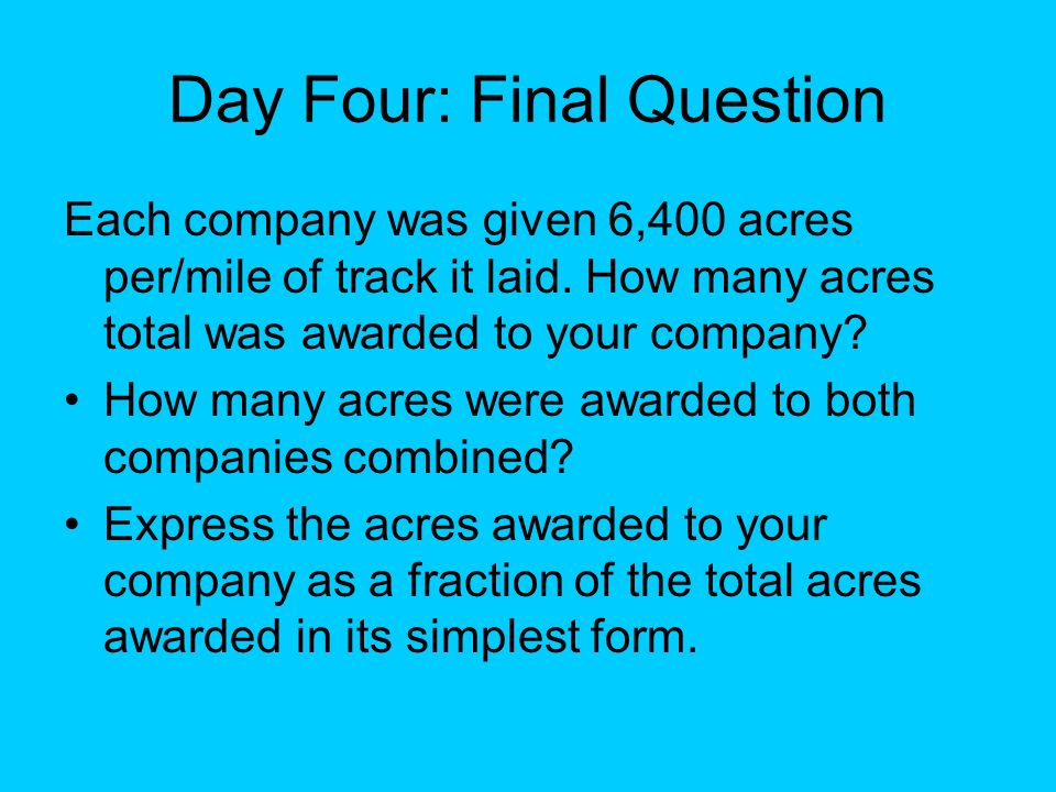 Day Four: Final Question
