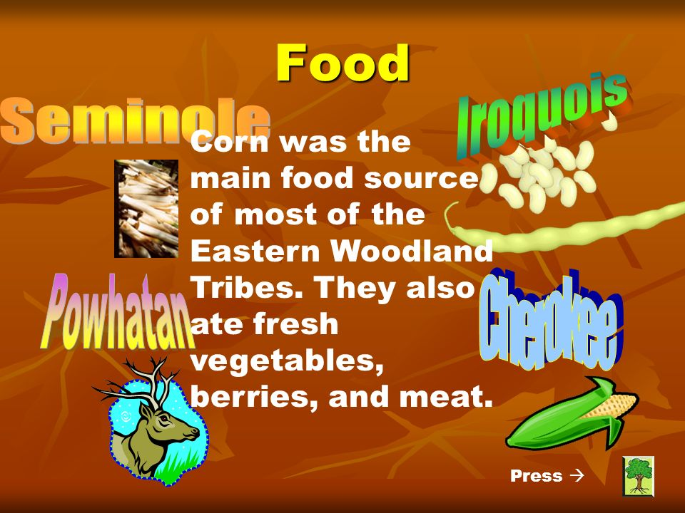 Food Iroquois Seminole Powhatan Cherokee