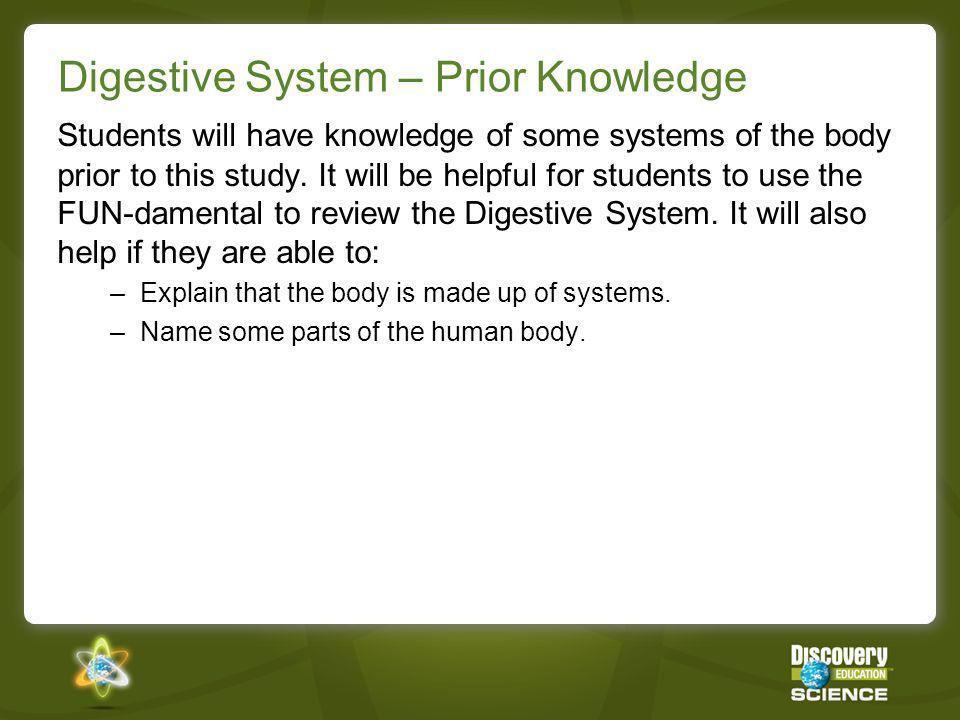 Digestive System – Prior Knowledge