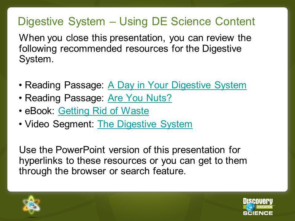 Digestive System – Using DE Science Content