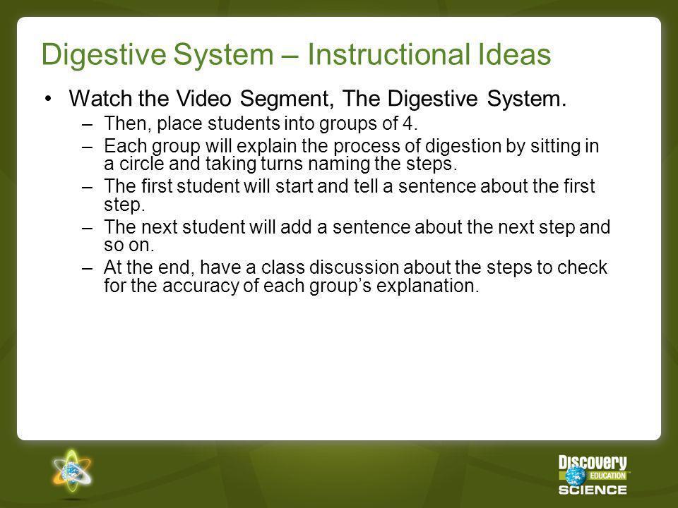Digestive System – Instructional Ideas