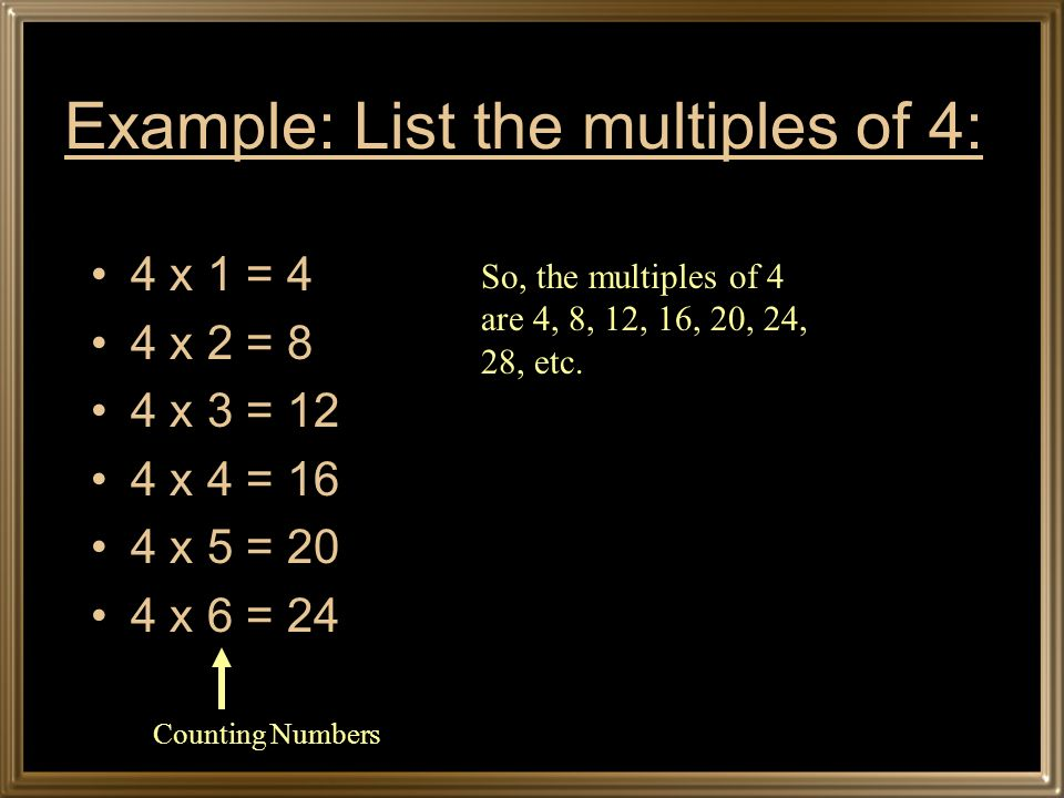 Example: List the multiples of 4: