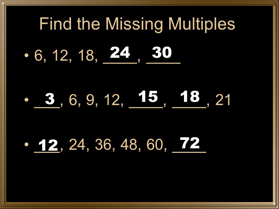 Find the Missing Multiples