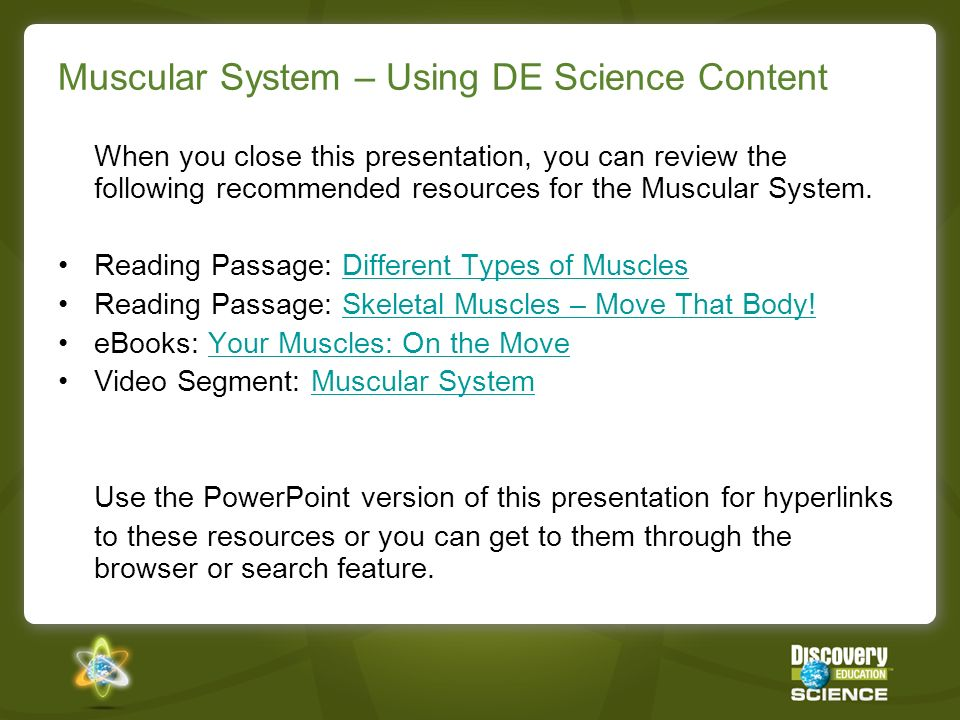 Muscular System – Using DE Science Content