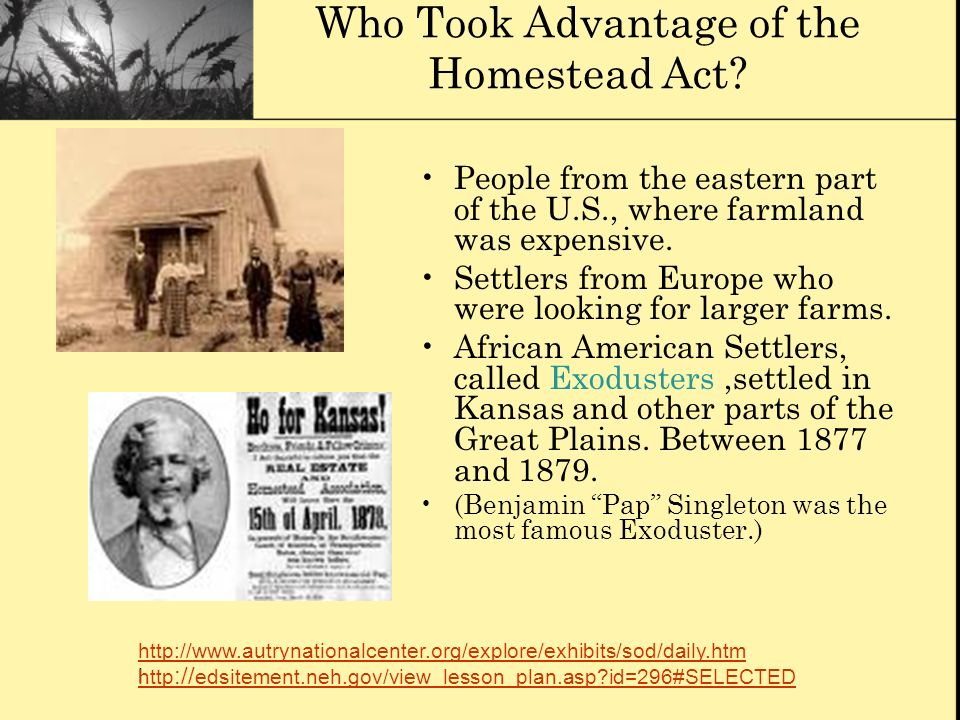 Who Took Advantage of the Homestead Act