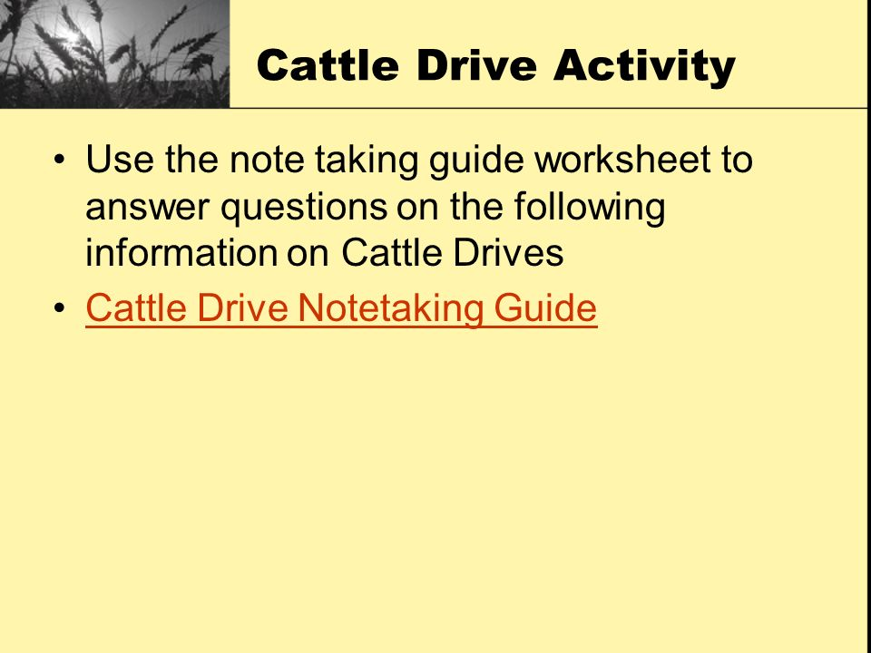 Cattle Drive Activity Use the note taking guide worksheet to answer questions on the following information on Cattle Drives.