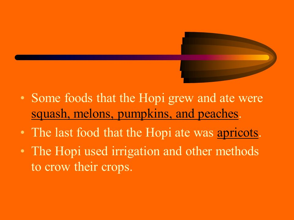 Some foods that the Hopi grew and ate were squash, melons, pumpkins, and peaches.
