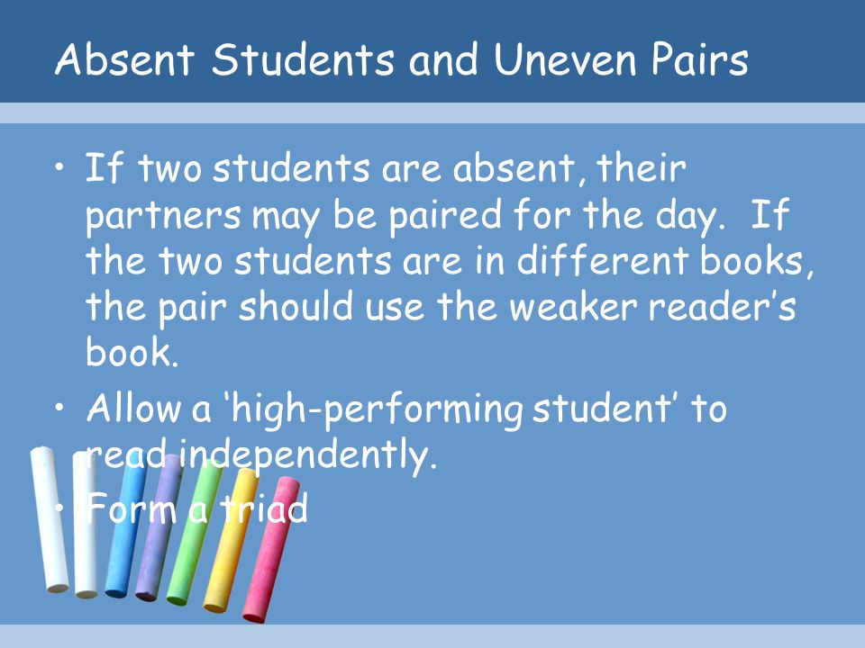 Absent Students and Uneven Pairs