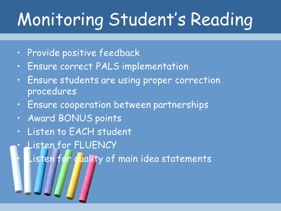 Monitoring Student's Reading