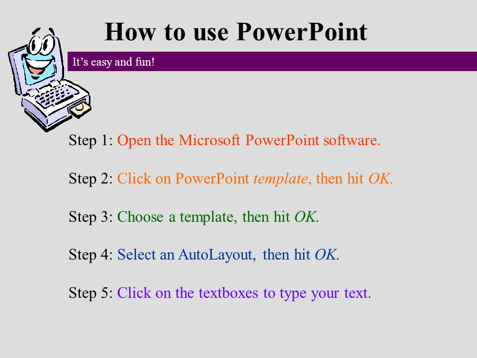 using a powerpoint template