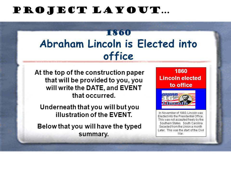 1860 Abraham Lincoln is Elected into office