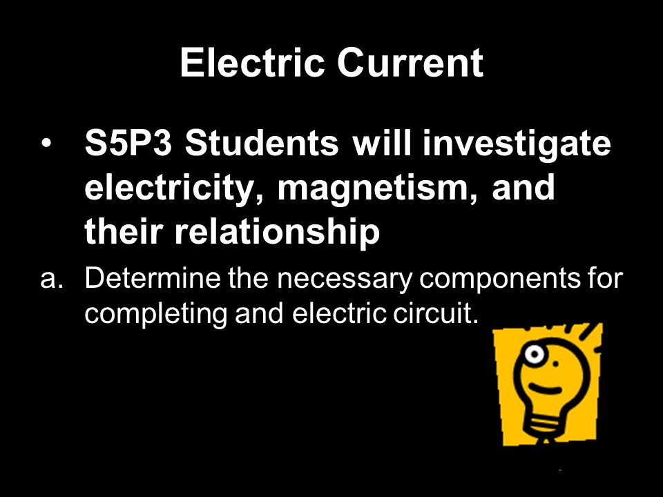 Electric Current S5P3 Students will investigate electricity, magnetism, and their relationship.