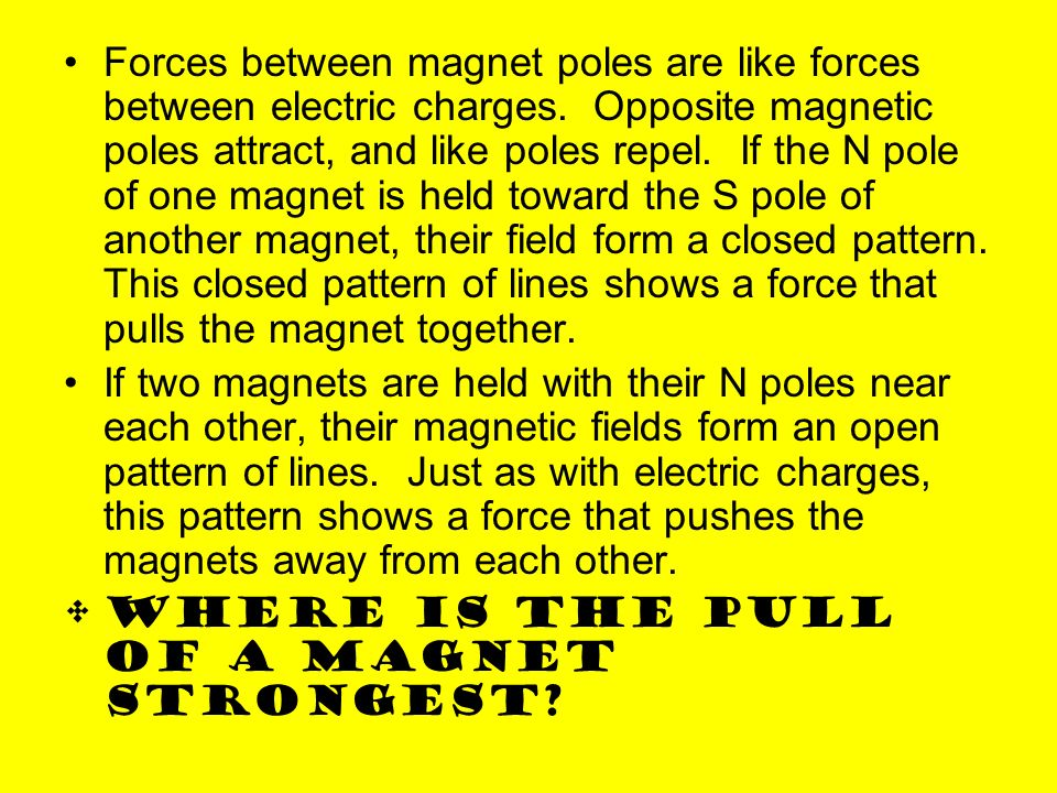 Forces between magnet poles are like forces between electric charges