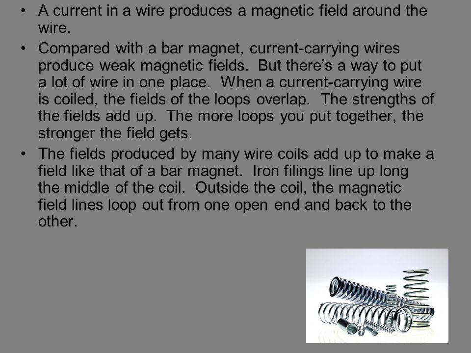 A current in a wire produces a magnetic field around the wire.