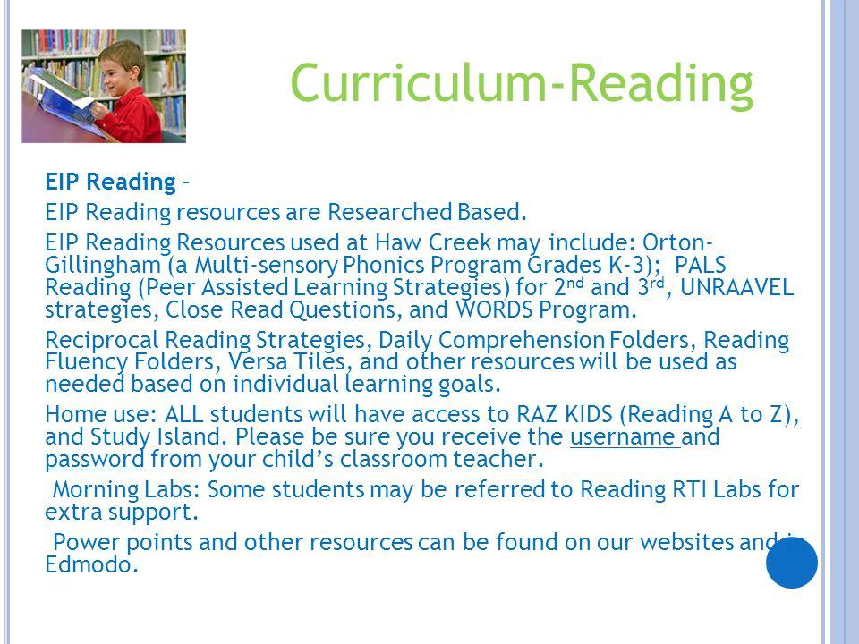 Curriculum-Reading EIP Reading –